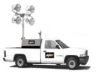 TRUCK MOUNTED REMOTE CONTROL 30 FOOT LIGHT TOWERS. RNT: SM-BTBK104MH-30′-1500w: Truck Bed Mounted Light Towers: 30′ Electric Telescoping Tower, 4-1500w Metal Halide Spring Supported Floodlights, 10kw Diesel Gen-set, Remote Controlled Within Truck Cab