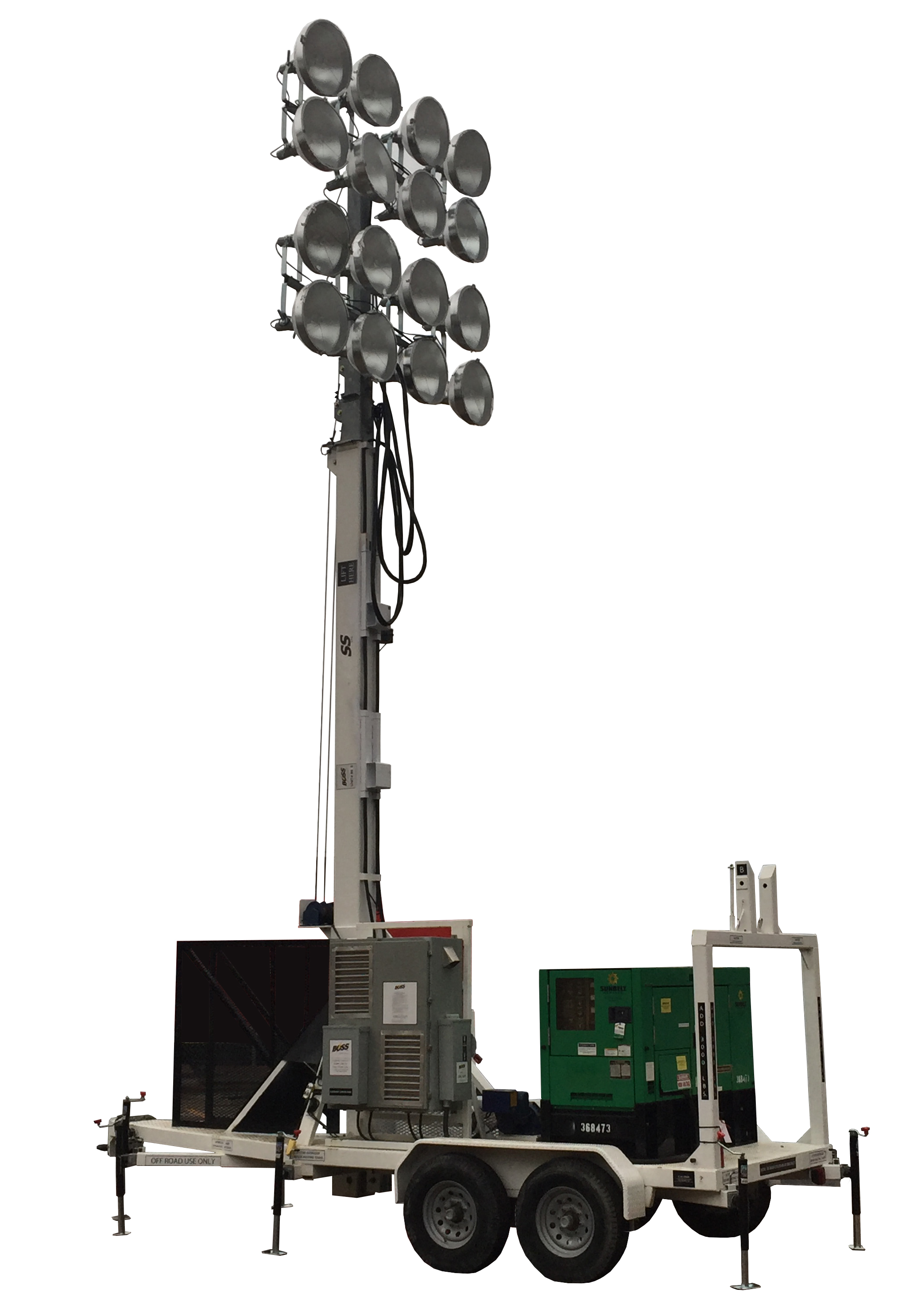 100 FOOT PORTABLE STADIUM LIGHT-TOWER HIGH SCHOOL COLLEGED SPORTS LIGHTING. RNT: SFLT-BUMQ2516MH-60′-1000W: High School & College Portable Sports Stadium Light Towers: 60′,80'&100′ Towers, 16-Floodlights, Diesel or Electric Power