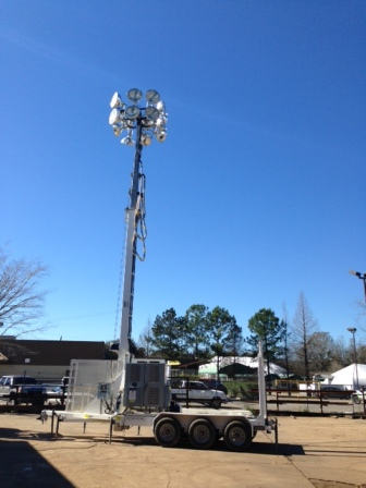 80 FOOT PORTABLE STADIUM LIGHT TOWER SPORTS SPECIAL EVENTS.  RNT: SPE-BUMQ4516MH-80′-1500W: 80′ Portable High Mast Tower, 15-1500w Floodlights, Diesel or Electric Powere