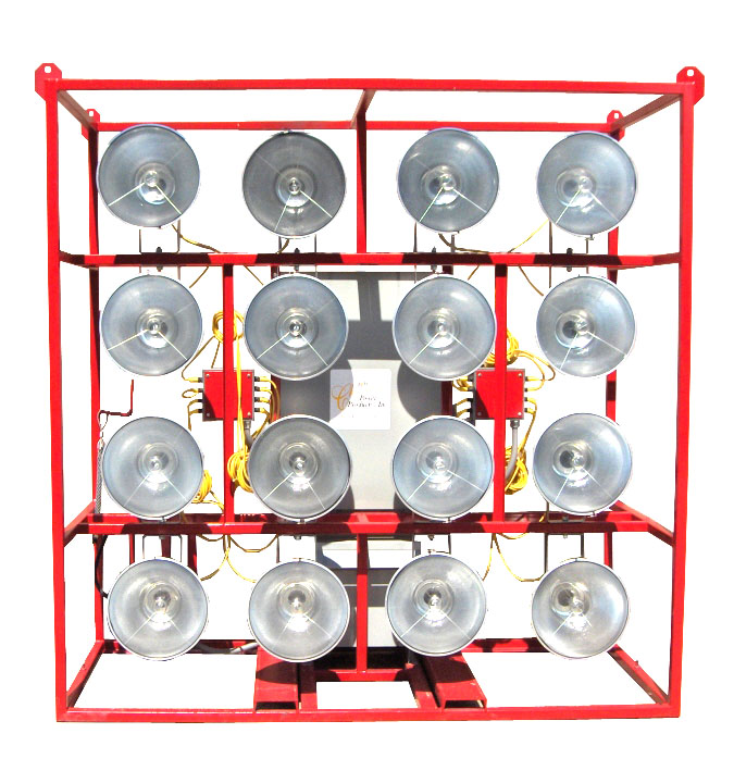 PORTABLE 16-1500W METAL HALIDE 480V FLOODLIGHTS CAGE MOUNTED. RNT: ECL-ELEC-16L-1500W: 16-1500w Metal Halide Floodlights, Electrical Stadium Cage Lights, 480V, 3PH Sysytem