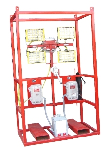 20 FOOT PORTABLE ELECTRIC OFFSHORE DIVISION 2 CAGE-MOUNTED LIGHT-TOWER. RNT: OS-ELEC-4LHL-400W:  Offshore Cage with Division 2 Fixtures and Electrical System, 480v or 120/240v, 1PH