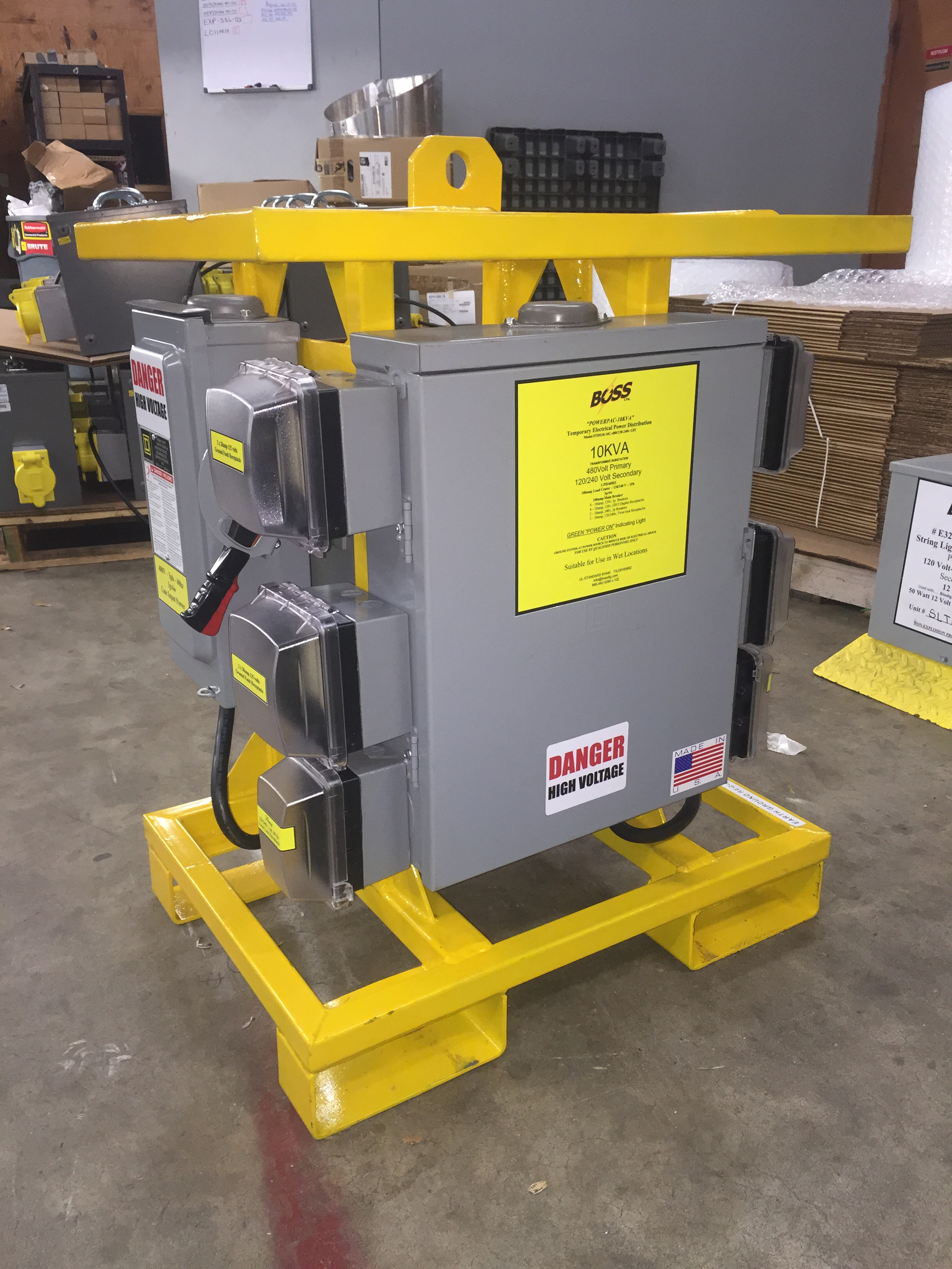 UL1640 CERTIFIED- TDS10/10C/480-120V/240V 10kva Transformer, 480v to 120v GFCI -240v Twistlock.  Rental Rate: $650.00 per month,  Request Quote for Discount
