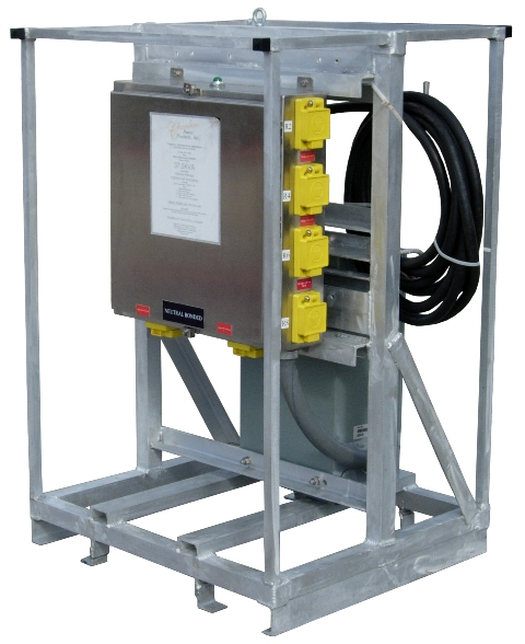 25KVA TEMPORARY ELECTRICAL DISTRIBUTION SUBSTATION.  RNT: TPD-TDS25/10C/480V-120V GFCI: 25KVA Transformer, 480v to 120v, 10-20amp, GFCI duplex outlets, Skid Mounted