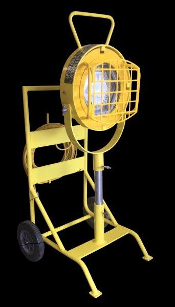 UL884 Portable Compliant… EXF-CM150LED-PG-C-24″-120V: 150w LED Explosion Proof Rated Floodlight, Division 1 Applications, Cart Mounted. Rental Rate: $500.00 per month. Request for Quote for Discounts.