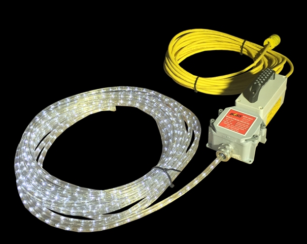 ROPE LIGHTS LED FOR INDUSTRIAL CONFINED SPACE ENTRY – 120Vac LED .9 Watts per foot for Confined Space Entry Wet Locations.