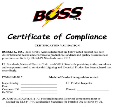 UL Certification and Revalidation - BOSS Built On Safety Standards